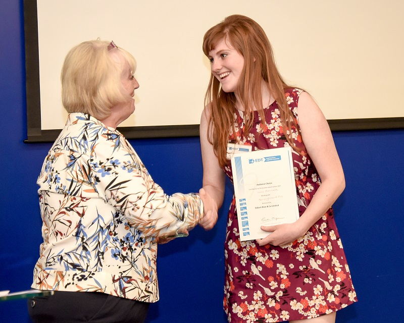 Lucy Bennett receiving audience choice award