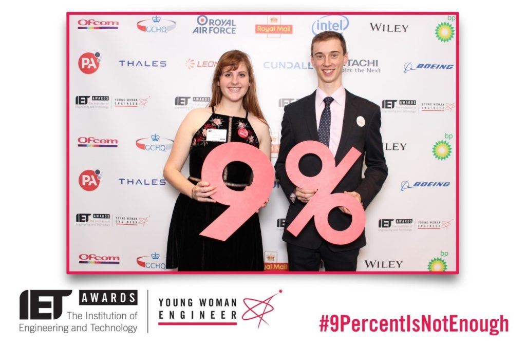 Lucy Bennett and Adam Nightingale at the IET Young Women Engineer Awards