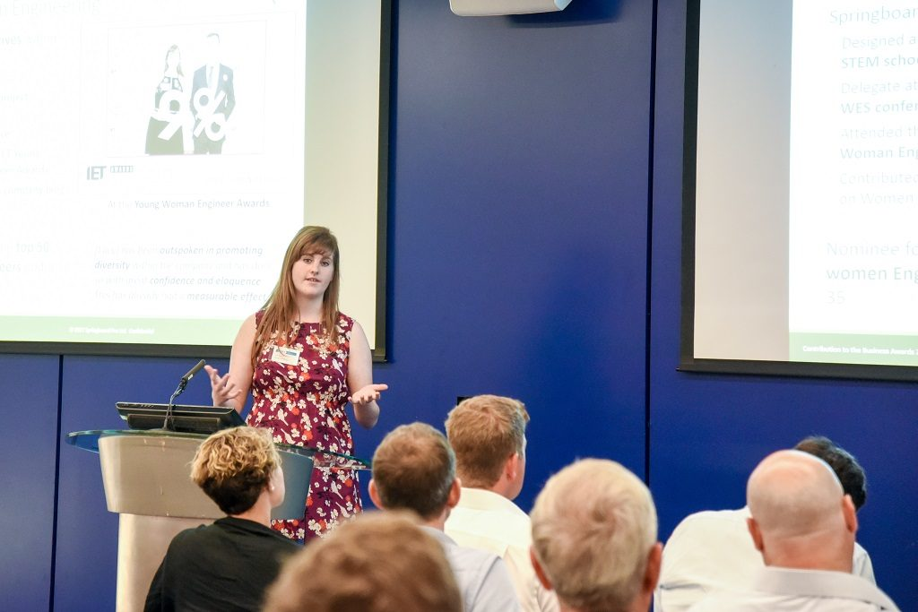 Lucy Bennett presenting